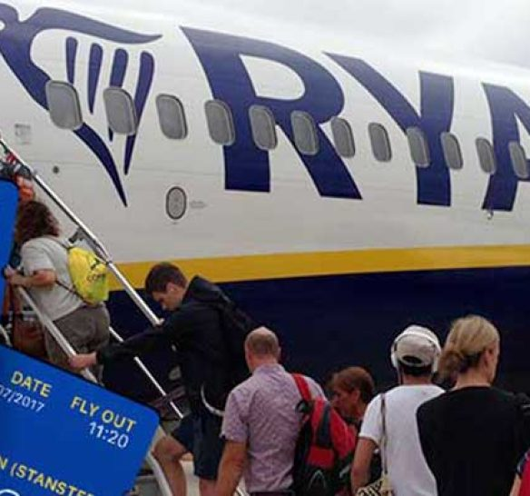 Customers boarding a Ryanair flight at Jerez Airport in Spain
