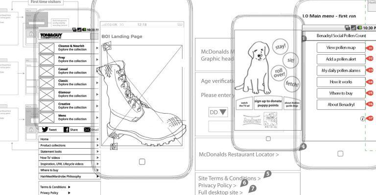 Header image of mobile wireframe designs
