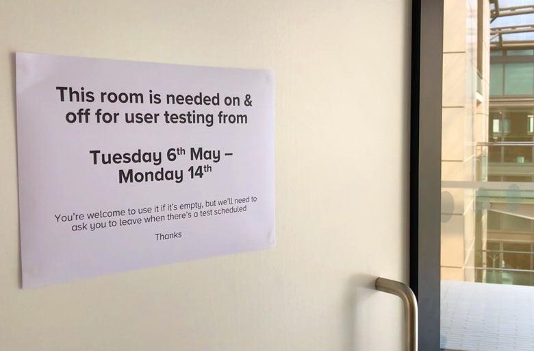 User testing lab door