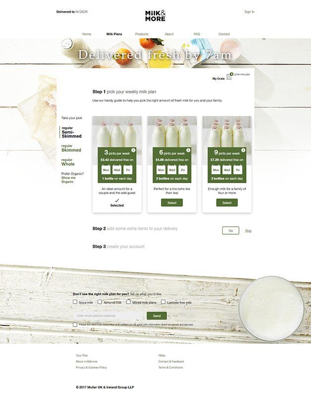Müller Milk & More pilot website design