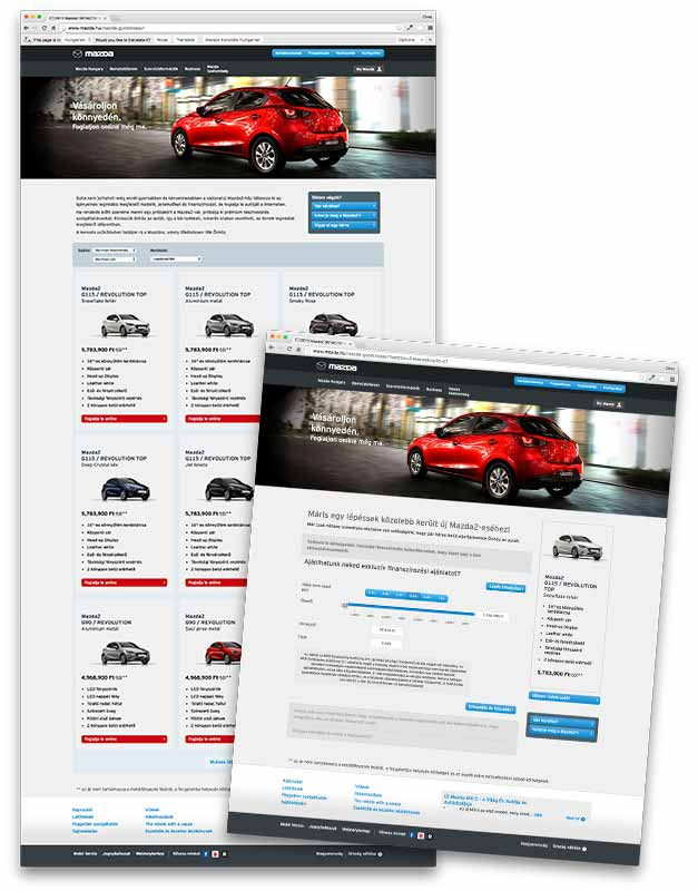 High fidelity Mazda website designs
