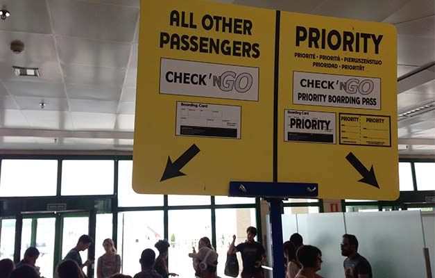 Ryanair boarding signage at Jerez Airport in Spain.