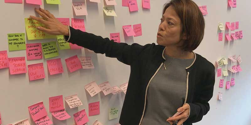 Kyocera staff presenting in front of a wall of post-it notes