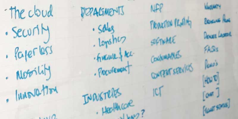 content headings written on a whiteboard