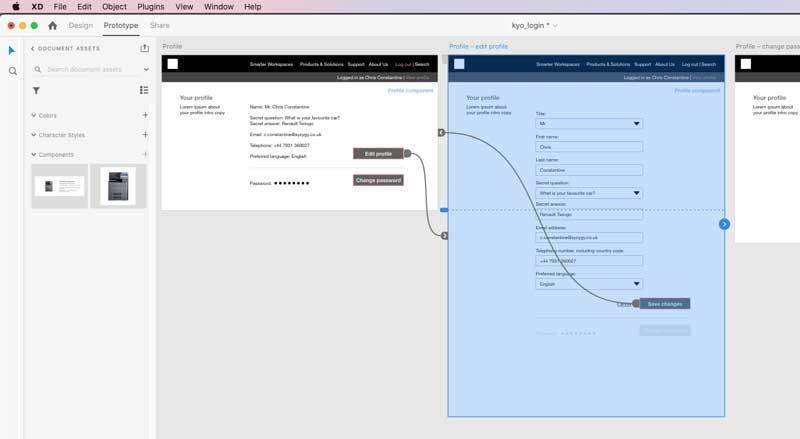 Adobe XD screen grab