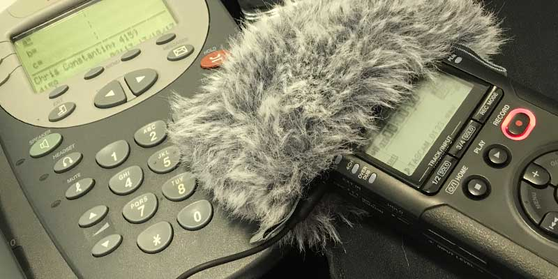 Desk phone and Tascam audio recorder